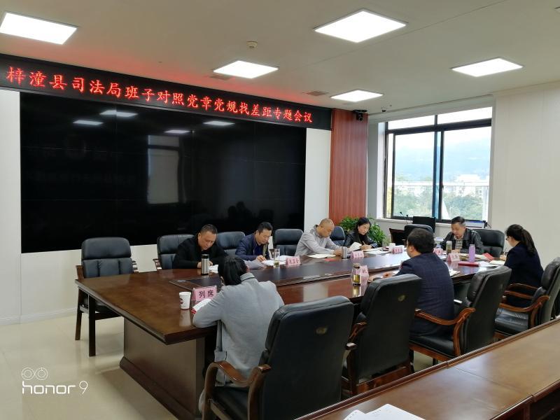 梓潼县司法局领导班子召开对照党章党规找差距专题会